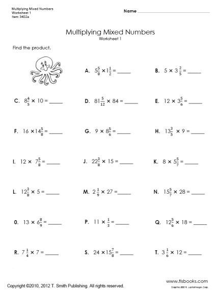 Multiplying Mixed Fractions Worksheet Multiplying Mixed Numbers Worksheets 1 and 2