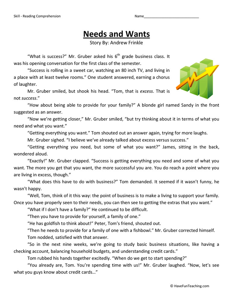 needs and wants fifth grade reading prehension worksheet