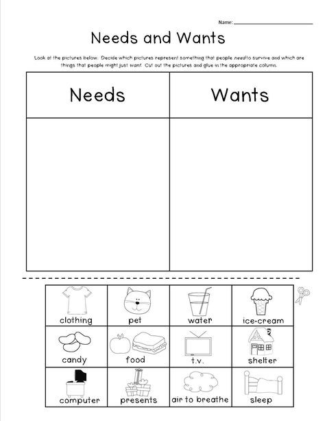 Needs and Wants Worksheet Pin On Activities