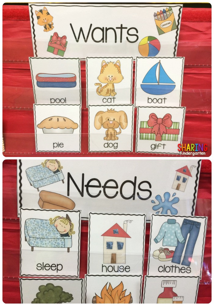 Needs and Wants Worksheet Wants and Needs with A Freebie Sharing Kindergarten