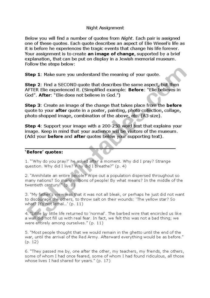 Night Elie Wiesel Worksheet Answers Creative assignment Night by Elie Wiesel Esl Worksheet