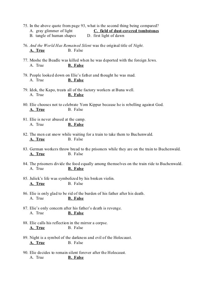Night Elie Wiesel Worksheet Answers Night Test 1