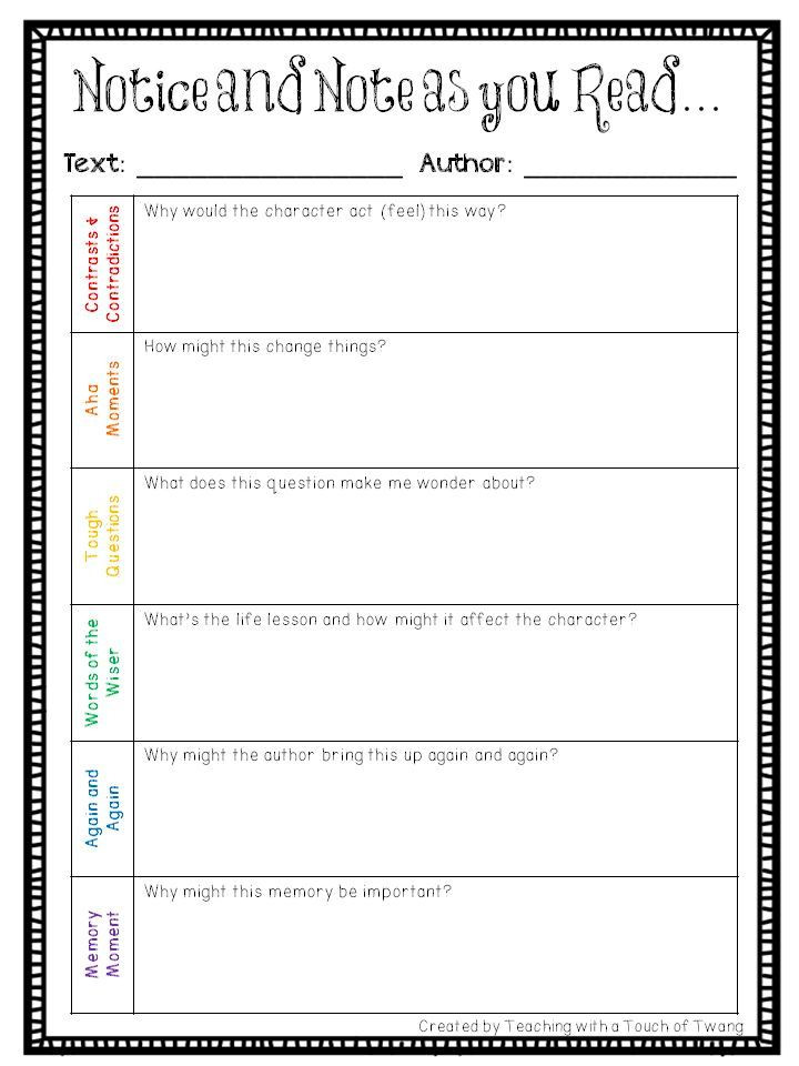 Notice and Note Signposts Worksheet Notice and Note Book Study Anchor Questions and General