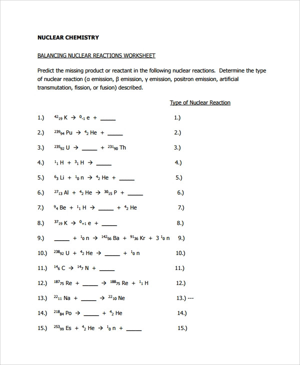 Nuclear Decay Worksheet Answers Chemistry Nuclear Decay Equations Practice Worksheet Answers لم يسبق