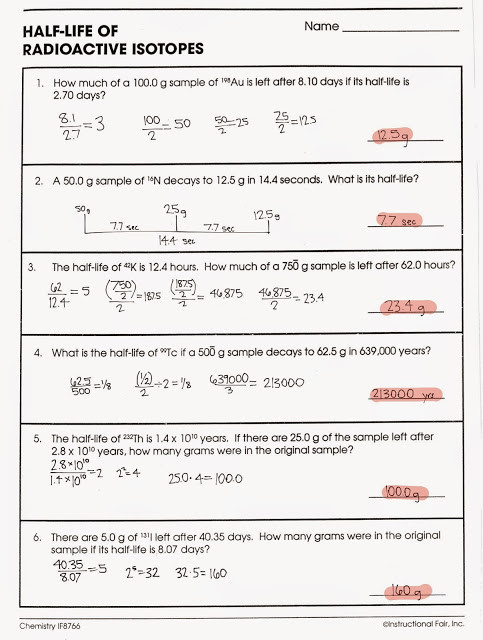 Nuclear Decay Worksheet Answers Chemistry tom Schoderbek Chemistry Nuclear Decay Half Lives Worksheet