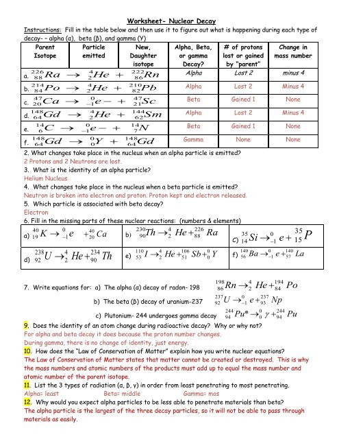 Nuclear Decay Worksheet Answers Chemistry Worksheet Nuclear Decay