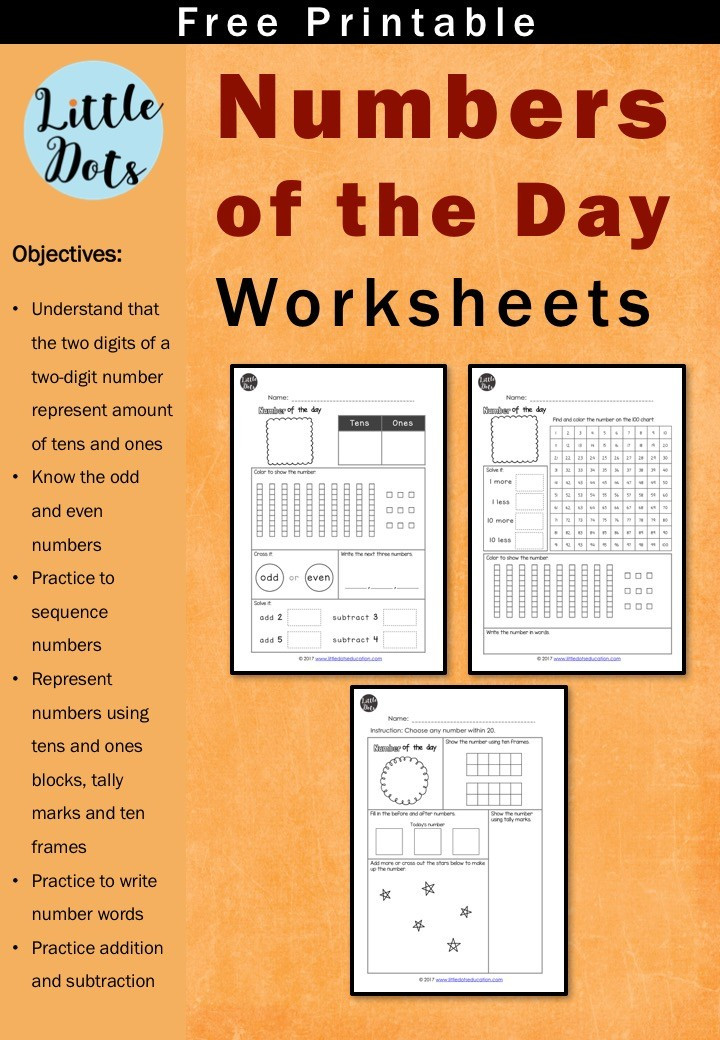 Number Of the Day Worksheet Free Number Of the Day Printable and Worksheet for K 2