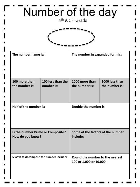Number Of the Day Worksheet Number Of the Day Worksheet