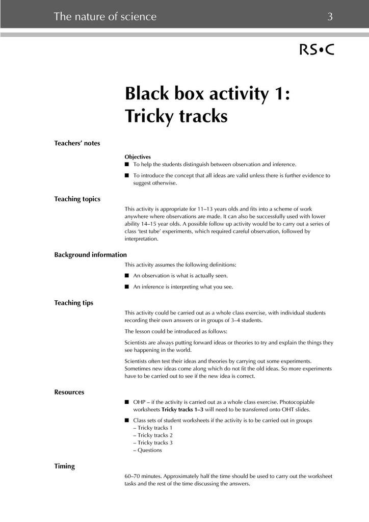 Observation and Inference Worksheet Black Box Activities