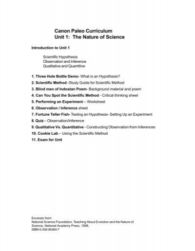 Observation and Inference Worksheet Canon Paleo Curriculum Unit 1 the Nature Of Science