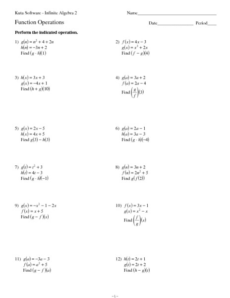 Operations On Functions Worksheet Functions Operations Worksheet for 9th 11th Grade