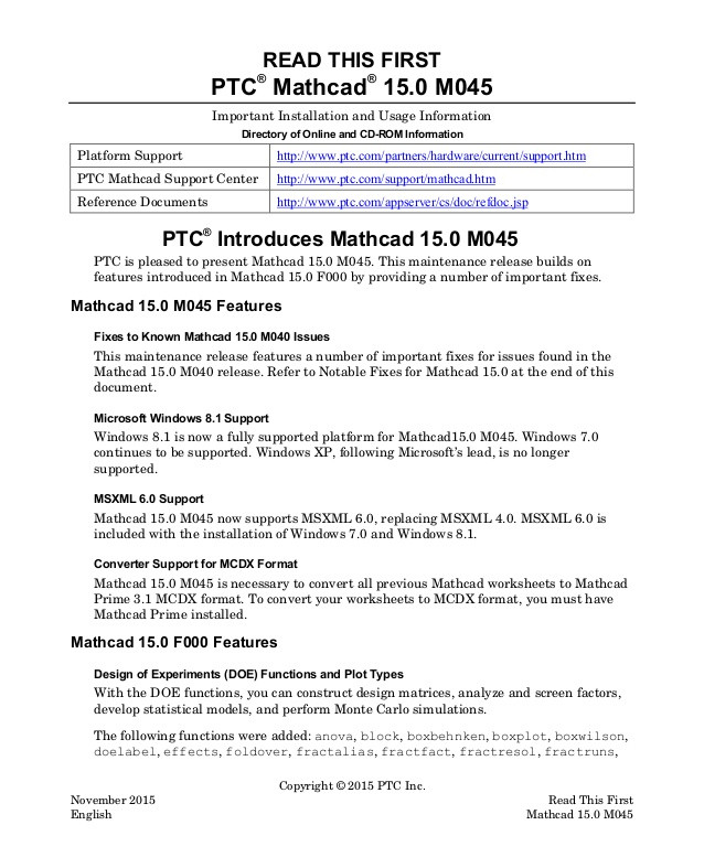 Operations On Functions Worksheet Ptc Mathcad 15 0 M045 Read This First