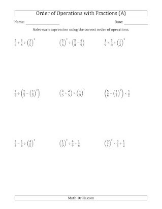 Operations with Exponents Worksheet Kuta software order Of Operations Fractions