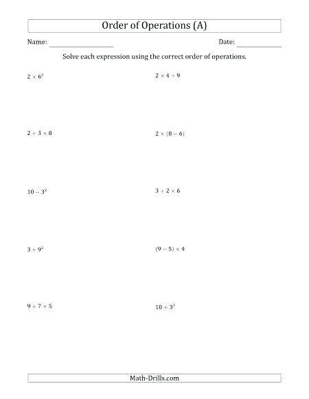 Operations with Integers Worksheet Pdf order Operations with Exponents Worksheet order