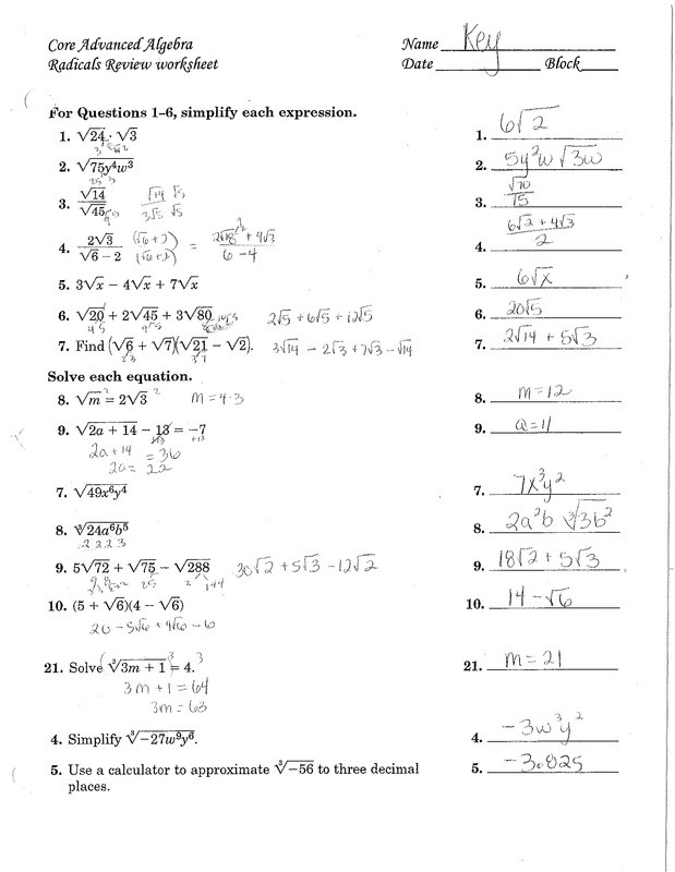 Operations with Radicals Worksheet Chapter 11& 7 Radical Expressions Mrs Miller S Math Website