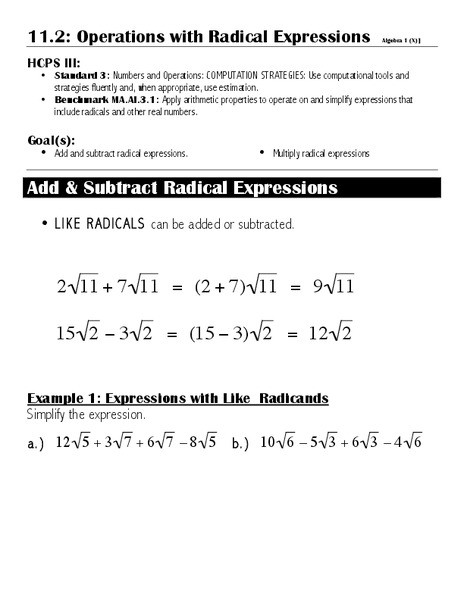 Operations with Radicals Worksheet Operations with Radical Expressions Worksheet for 7th 10th