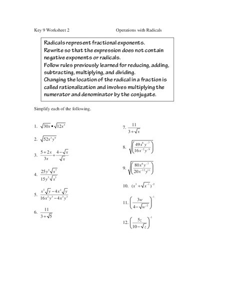 Operations with Radicals Worksheet Operations with Radicals Worksheet for 9th 11th Grade