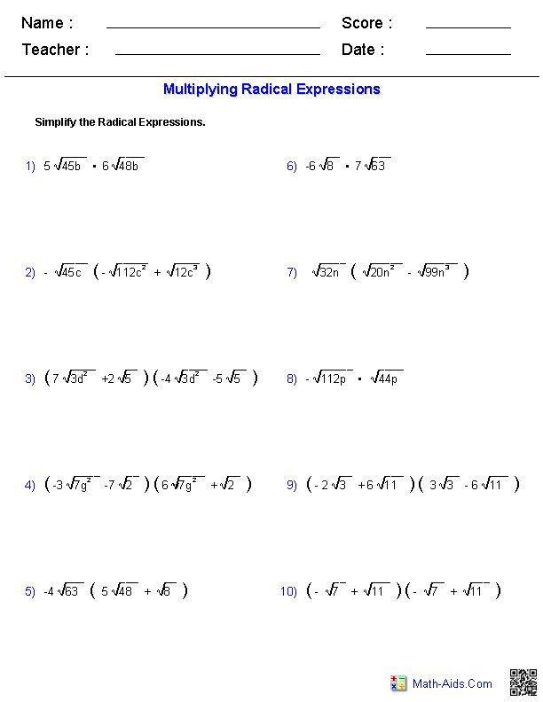 Operations with Radicals Worksheet Pin On Free Worksheet