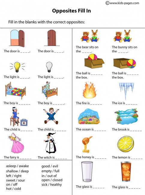 Opposites Preschool Worksheets Opposites Fill In Worksheet