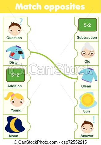 Opposites Worksheet for Preschool Matching Game Educational Children Activity Match Opposites Activity for Pre Scholl Years Kids and toddlers