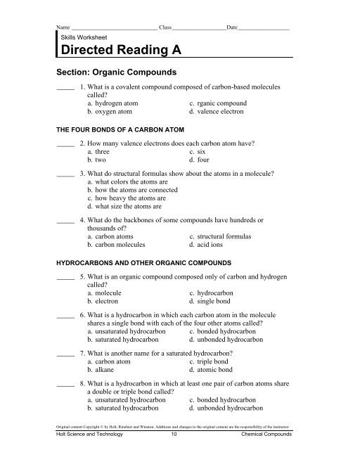 Organic Compounds Worksheet Answers Directed Reading A Section organic Pounds