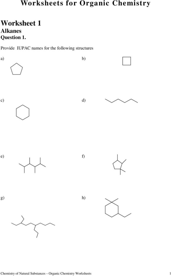 Organic Compounds Worksheet Answers High School organic Chemistry Worksheet with Answers