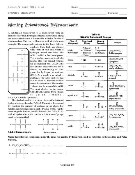 Organic Compounds Worksheet Answers organic Chemistry Naming Substituted Hydrocarbons Worksheet