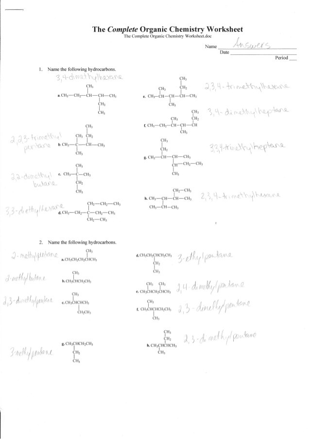 Organic Compounds Worksheet Answers Plete organic Chemistry Worksheet Answers
