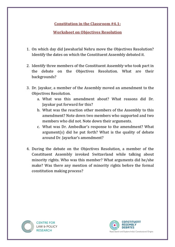 Outline Of the Constitution Worksheet Constitution Of India