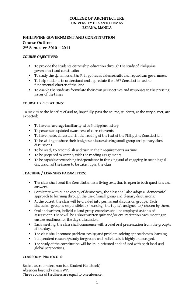 Outline Of the Constitution Worksheet Pgc Course Outline 2nd Sem 10 11 1 1