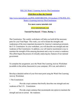Outline Of the Constitution Worksheet Pol 201 Week 1 Learning Activity the Constitution by