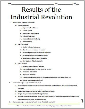 Outline Of the Constitution Worksheet Results Of the Industrial Revolution Free Printable