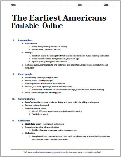 "Outline Of the Constitution Worksheet the Earliest Americans"" Free Printable Outline Pdf for"