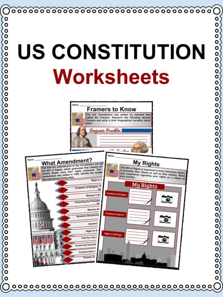 Outline Of the Constitution Worksheet Us Constitution Facts & Worksheets