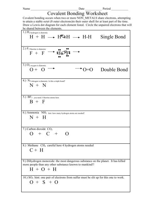 Overview Chemical Bonds Worksheet Answers Covalent Bonding Worksheet Colina Middle School
