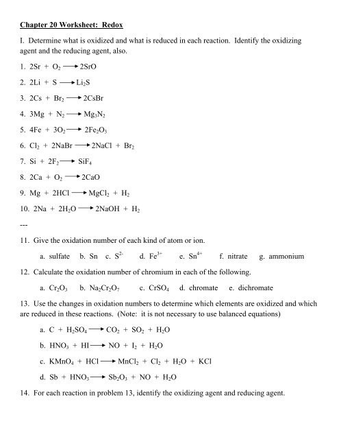 Oxidation and Reduction Worksheet Chapter 20 Worksheet Redox
