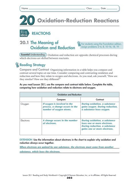 Oxidation and Reduction Worksheet Oxidation Reduction Reactions