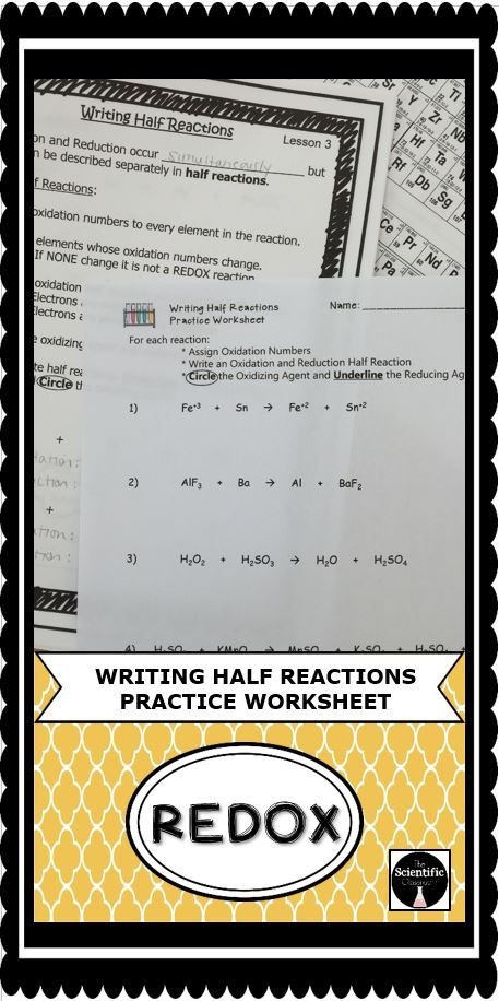 Oxidation and Reduction Worksheet Redox Writing Half Reactions Practice Worksheet