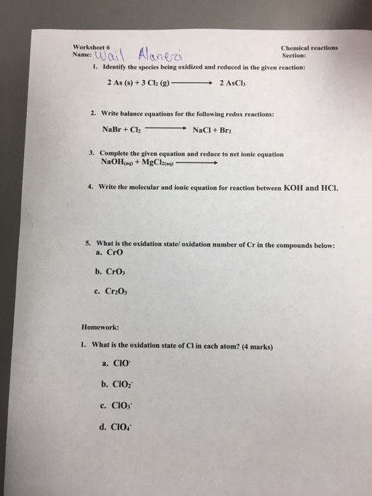 Oxidation and Reduction Worksheet solved Worksheet 6 Name Ai Alane Chemical Reactions Secti