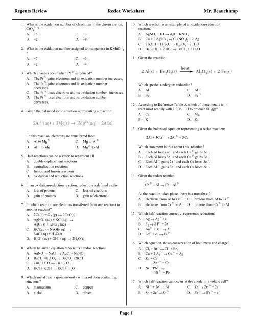 Oxidation and Reduction Worksheet the Redox Regents Review Worksheet