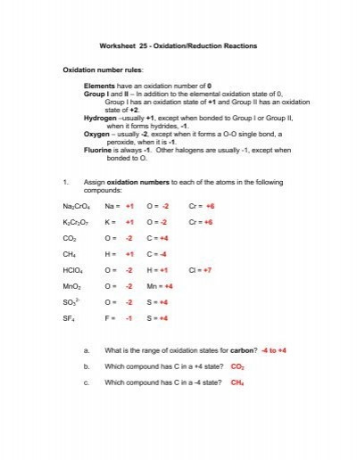Oxidation and Reduction Worksheet Worksheet 25 Oxidation Reduction Reactions Oxidation