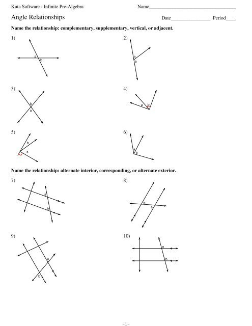 Pairs Of Angles Worksheet Answers Angle Relationships Kuta software