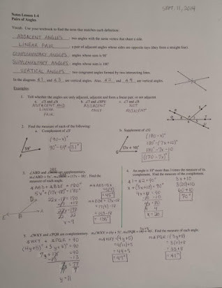 Pairs Of Angles Worksheet Answers Homework 1 4 Pairs Of Angles Answers