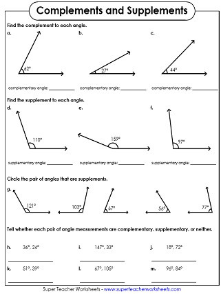 Pairs Of Angles Worksheet Answers Plementary and Supplementary Angle Worksheets