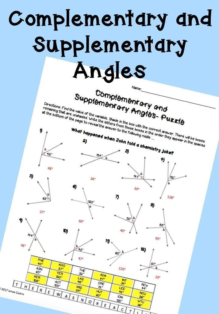Pairs Of Angles Worksheet Answers Plementary and Supplementary Angles Puzzle Worksheet