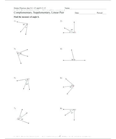 Pairs Of Angles Worksheet Answers Plementary and Supplementary Angles Worksheet Answers