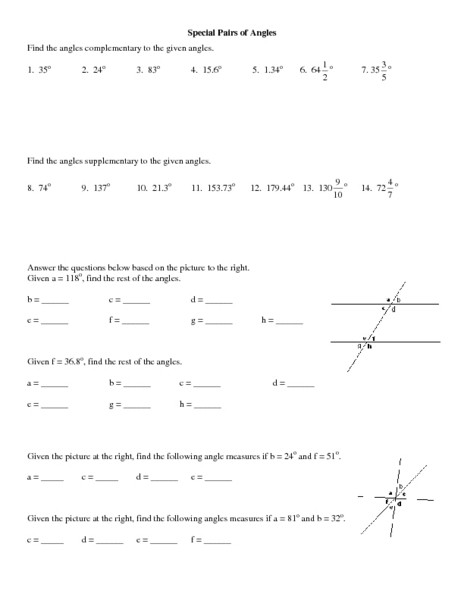Pairs Of Angles Worksheet Answers Special Pairs Of Angles Worksheet for 10th 12th Grade
