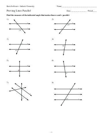 Parallel Lines Transversal Worksheet Angles formed by Parallel Lines and Transversals Worksheet