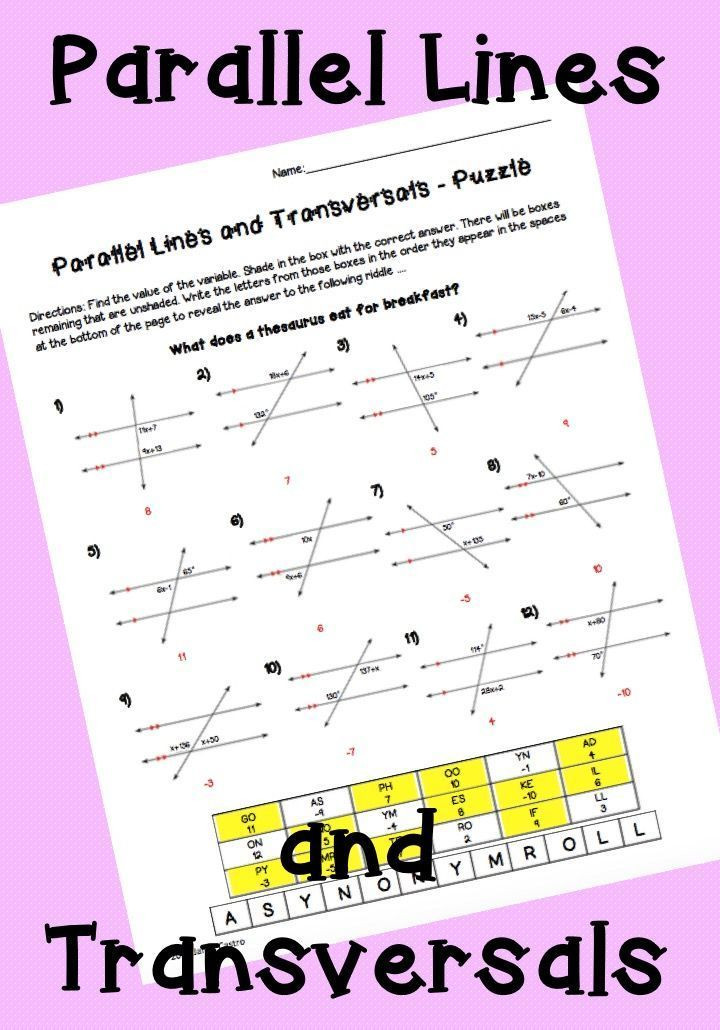 Parallel Lines Transversal Worksheet Parallel Lines and Transversals Activity Worksheet Vertical