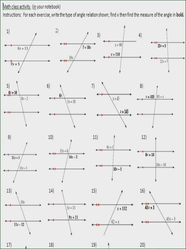 Parallel Lines Transversal Worksheet Pin On Math